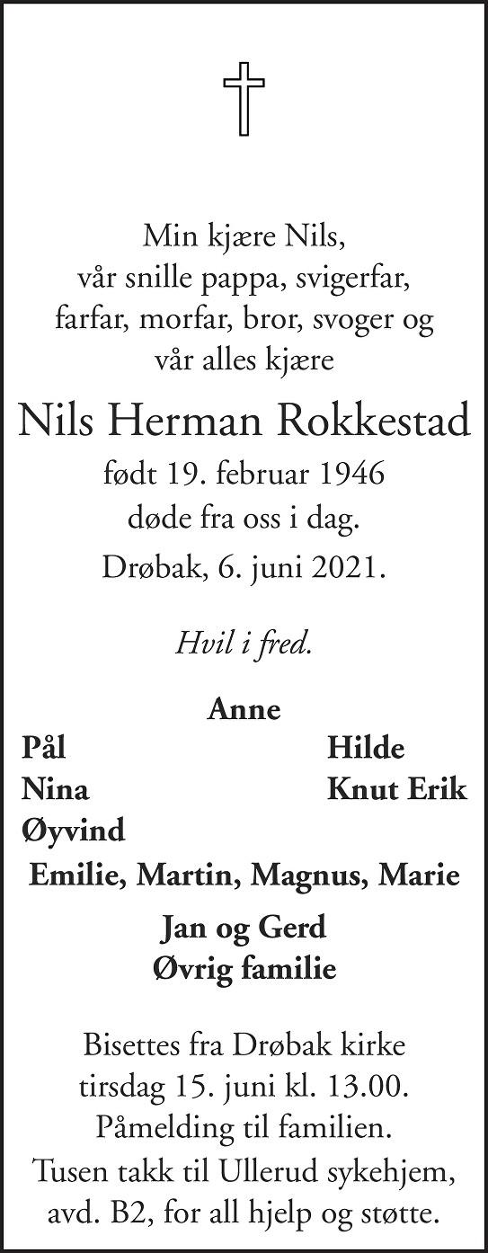 Nils Herman Rokkestad Dødsannonse