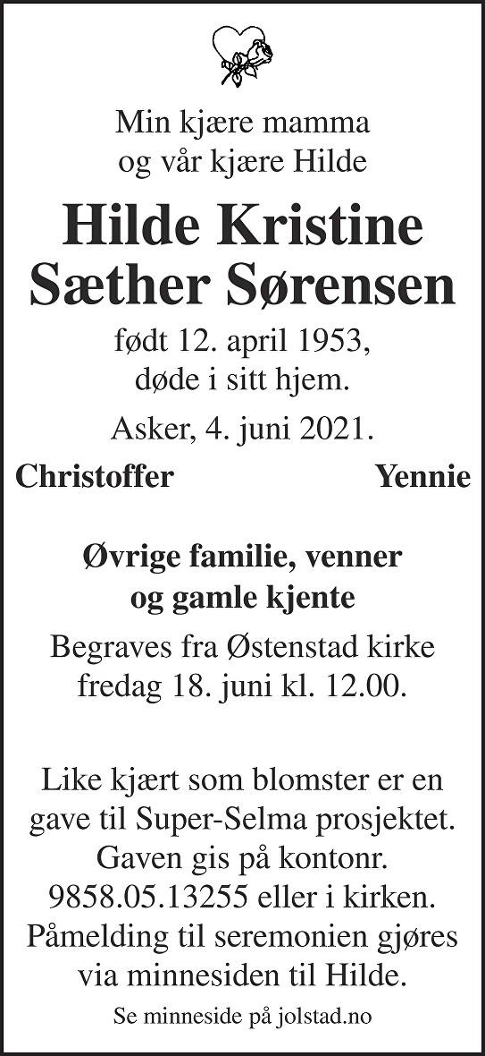Hilde Kristine Sæther Sørensen Dødsannonse