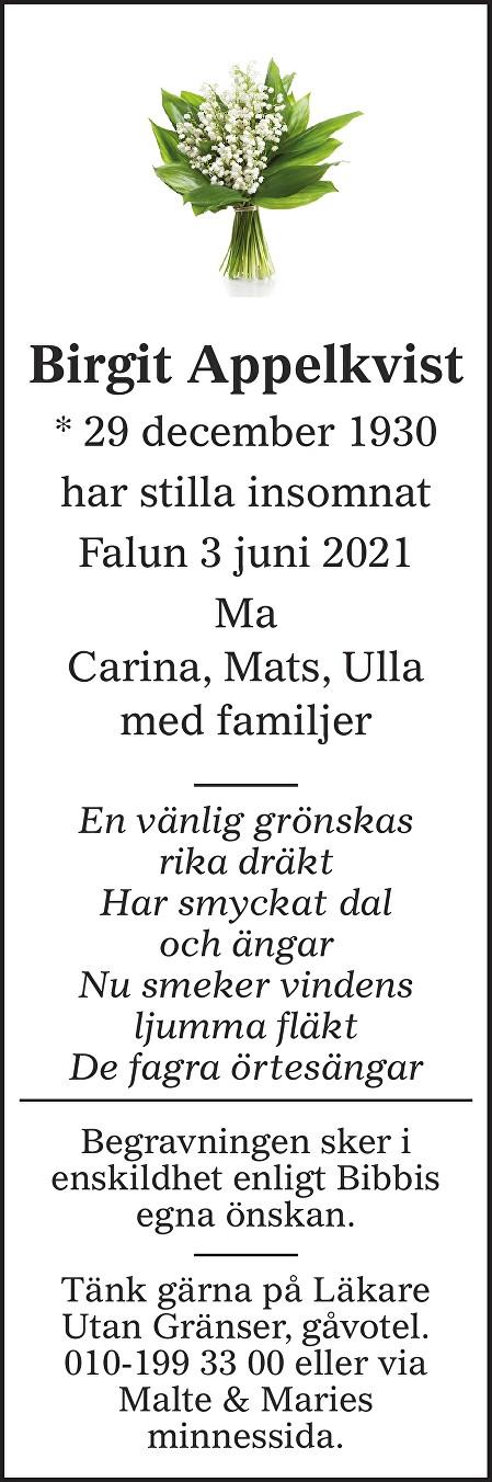 Birgit Appelkvist Death notice