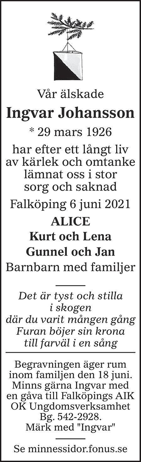 Ingvar Johansson Death notice