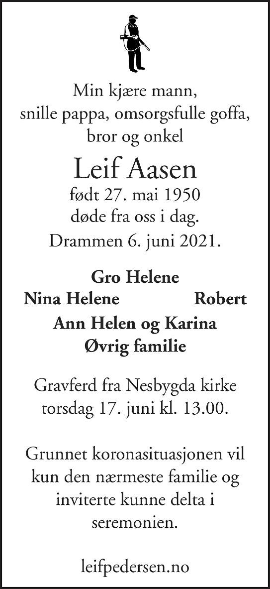 Leif Aasen Dødsannonse