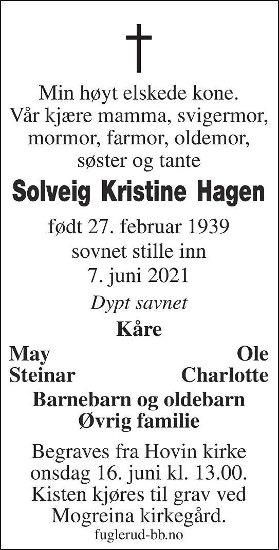 Solveig Kristine Hagen Dødsannonse