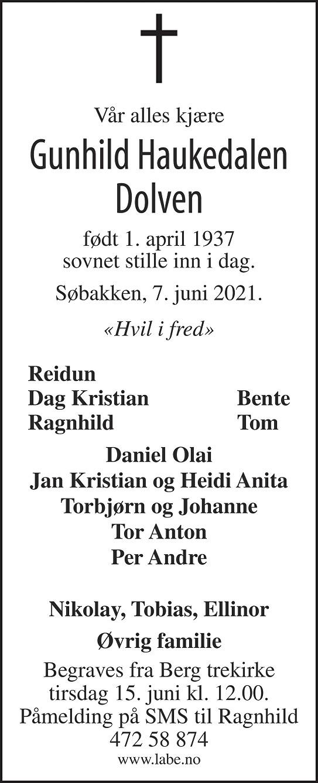 Gunhild Haukedalen Dolven Dødsannonse