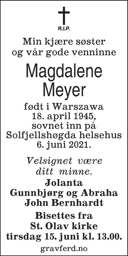 Magdalene Meyer Dødsannonse