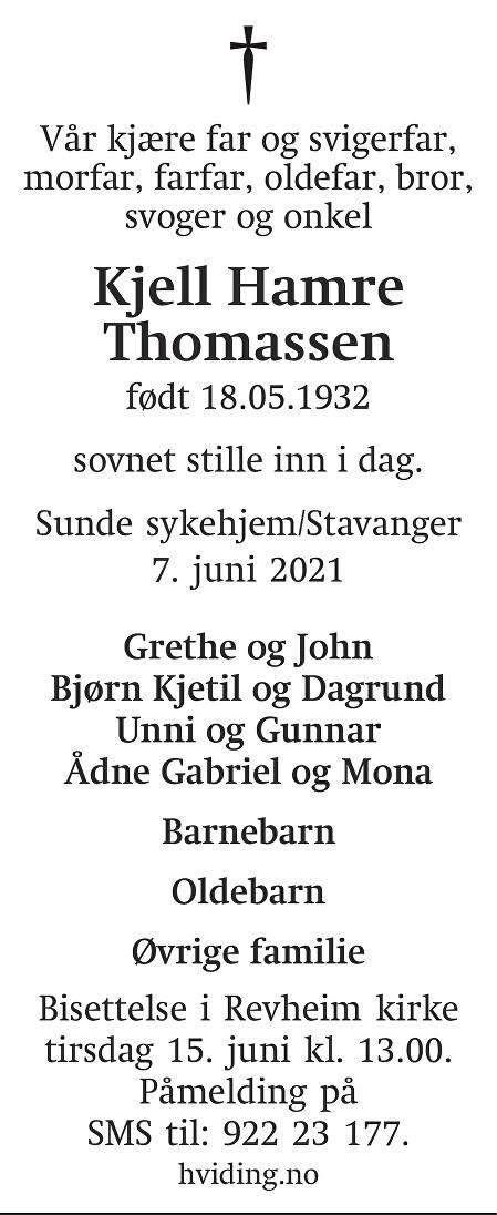 Kjell Hamre Thomassen Dødsannonse