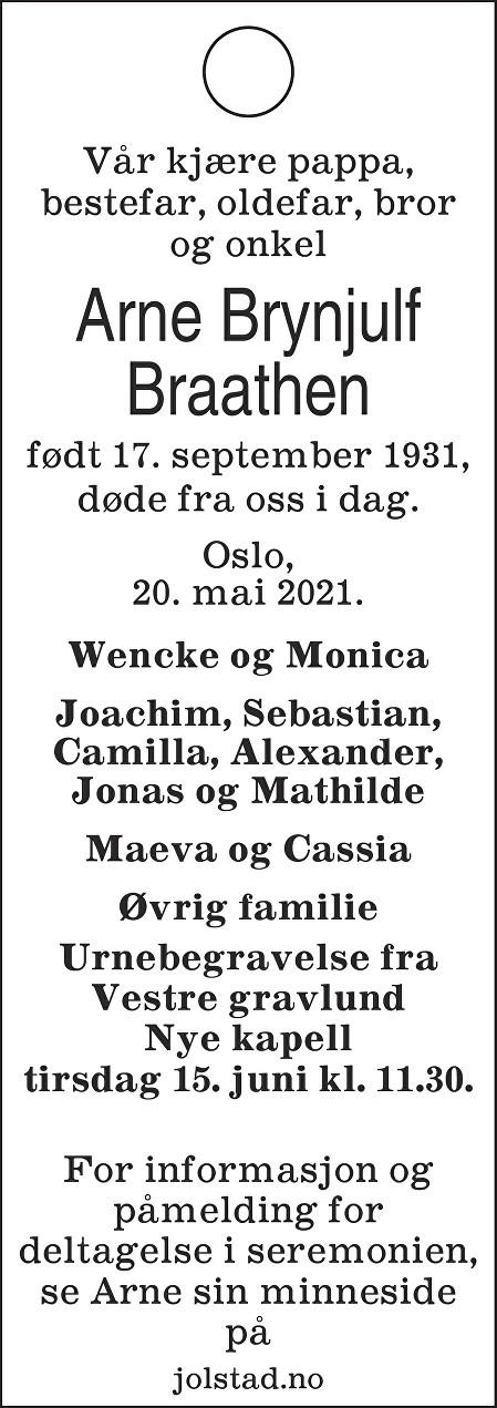 Arne Brynjulf Braathen Dødsannonse