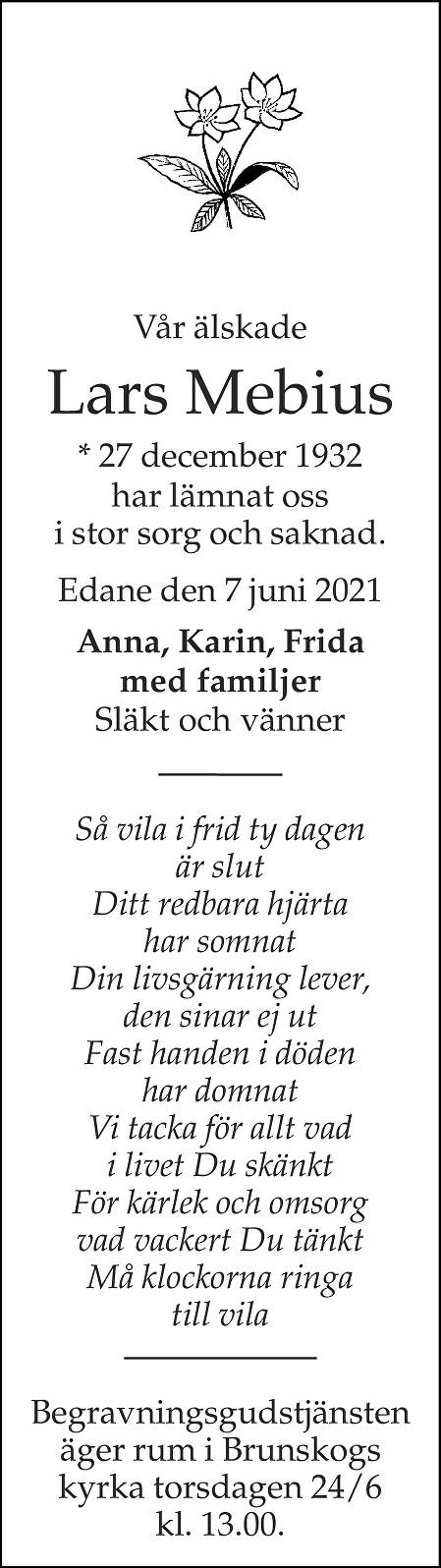 Lars Mebius Death notice