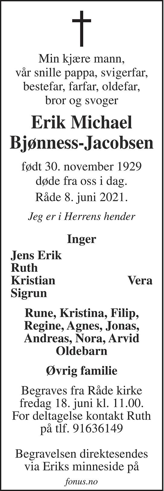 Erik Michael Bjønness-Jacobsen Dødsannonse