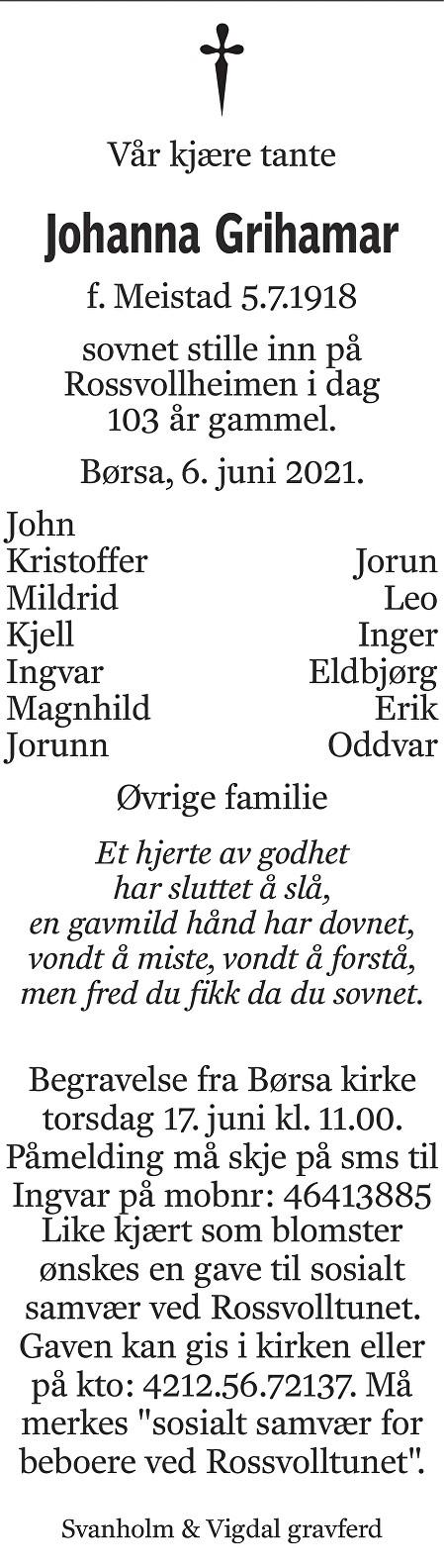 Johanna Grihamar Dødsannonse