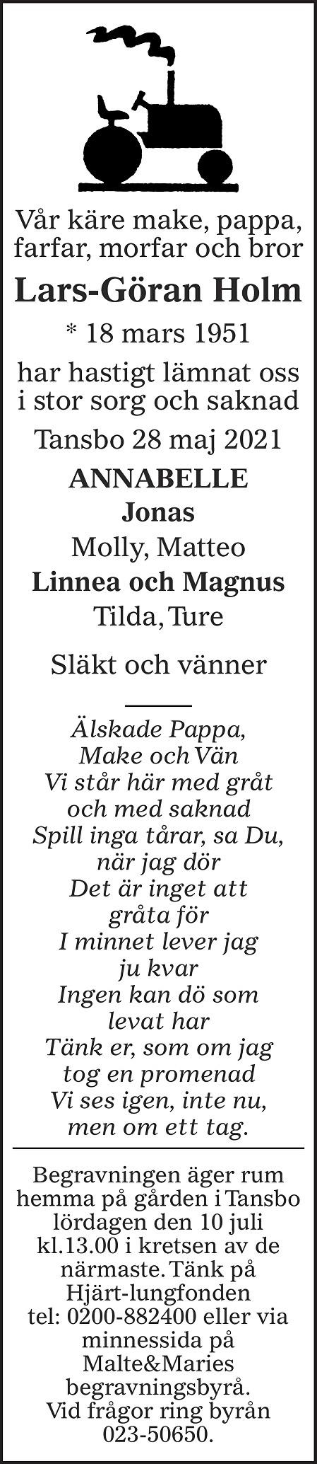 Lars-Göran Holm Death notice