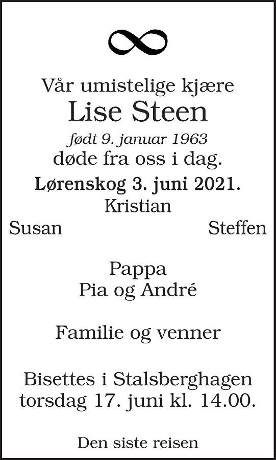 Lise Steen Dødsannonse