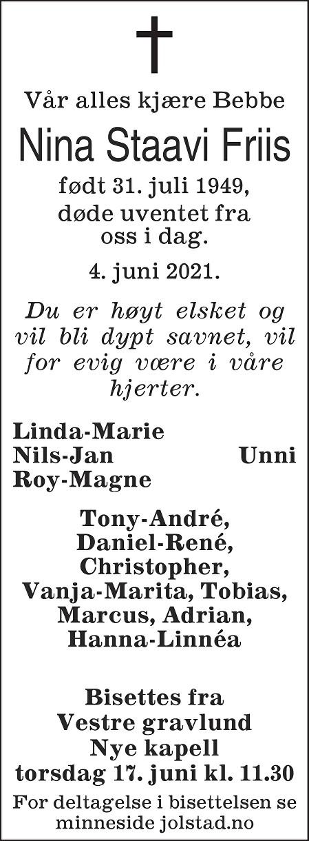 Nina Staavi Friis Dødsannonse