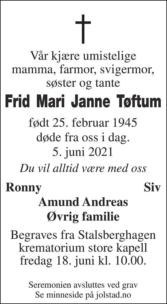 Frid-Mari Janne Tøftum Dødsannonse