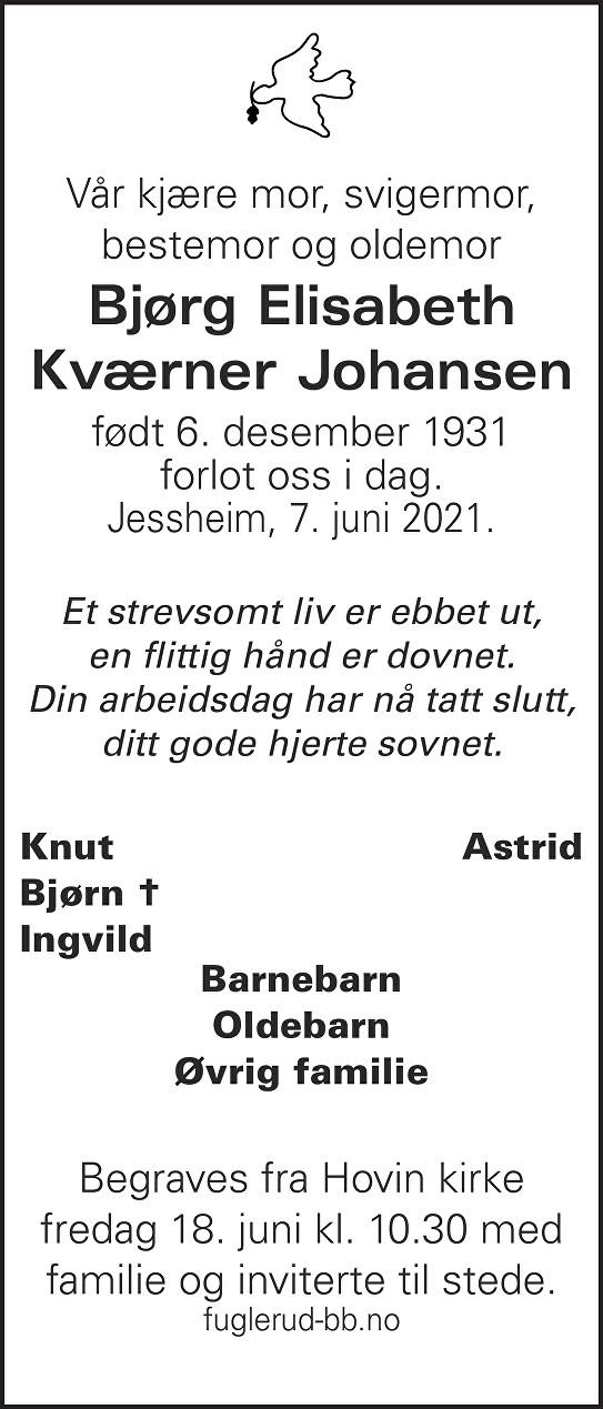 Bjørg Elisabeth Kværner Johansen Dødsannonse