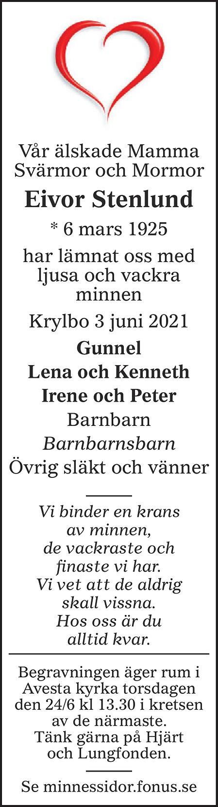 Eivor Stenlund Death notice