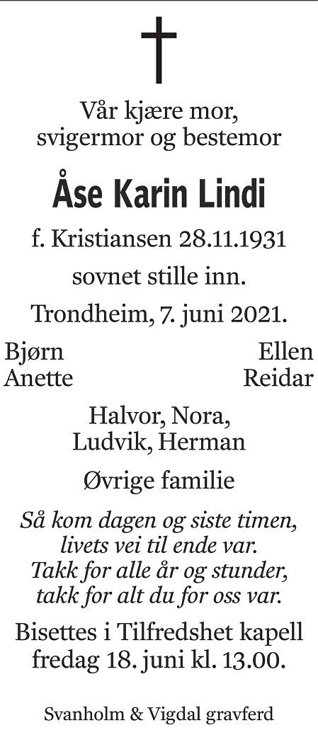 Åse Karin Lindi Dødsannonse