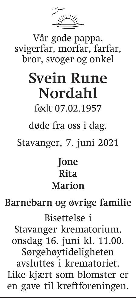 Svein Rune Nordahl Dødsannonse