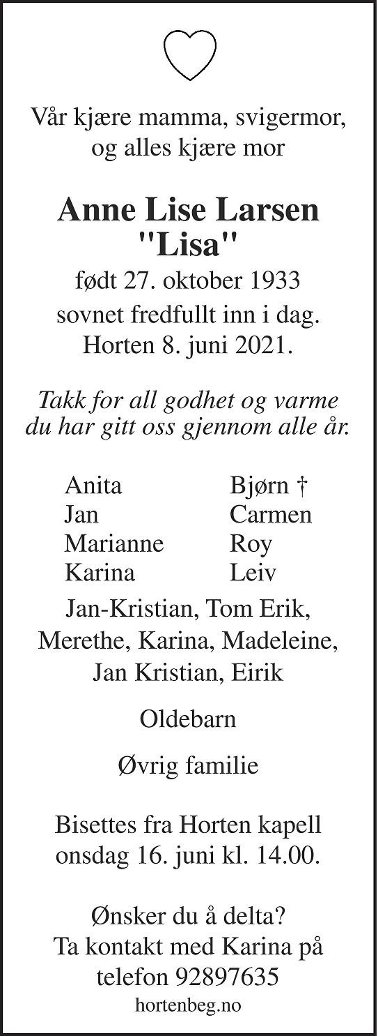 Anne Lise Synøve Larsen Dødsannonse