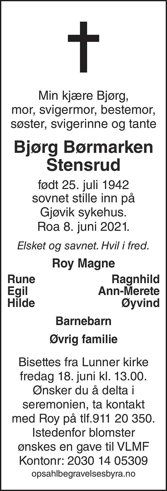Bjørg Børmarken Stensrud Dødsannonse