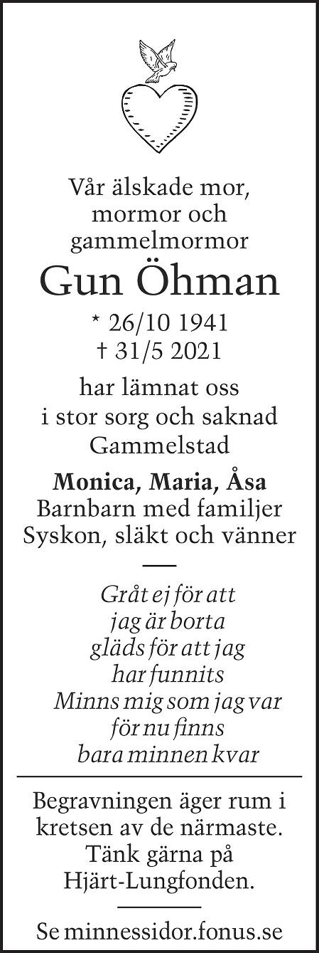 Gun Öhman Death notice