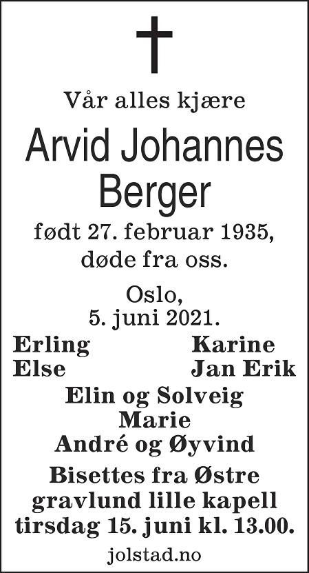 Arvid Johannes Berger Dødsannonse