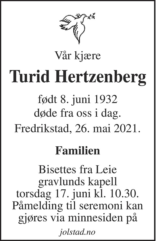 Turid Hertzenberg Dødsannonse