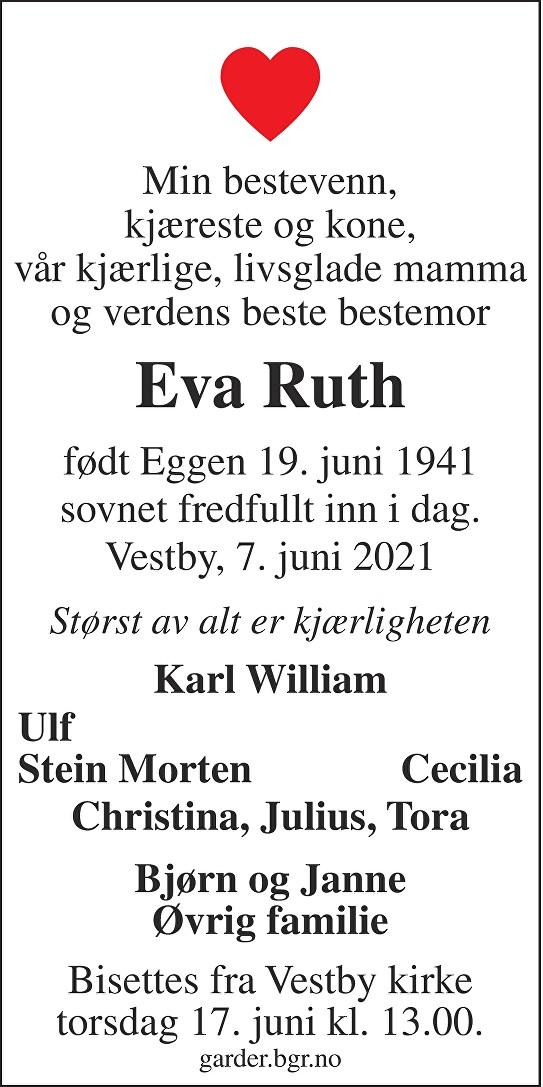Eva Ruth Dødsannonse