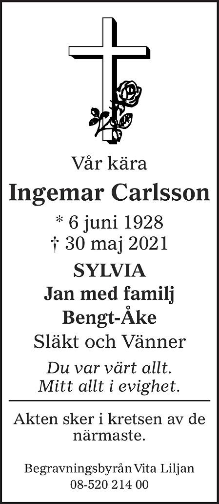 Ingemar Carlsson Death notice