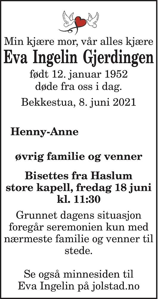Eva Ingelin Gjerdingen Dødsannonse