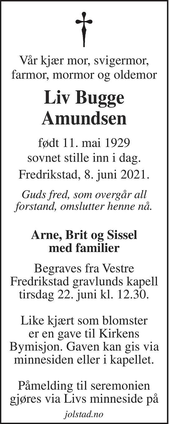 Liv Bugge Amundsen Dødsannonse