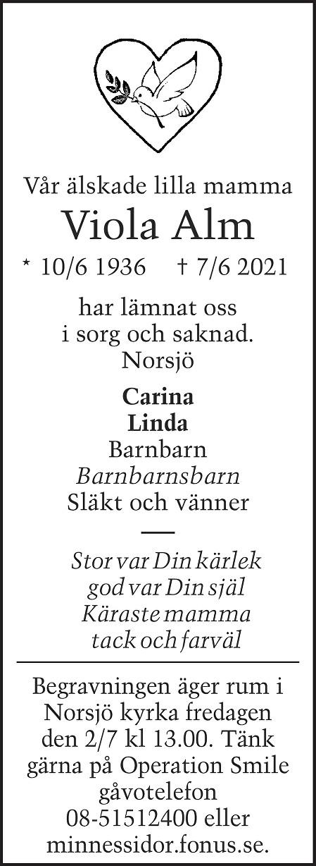Viola Alm Death notice