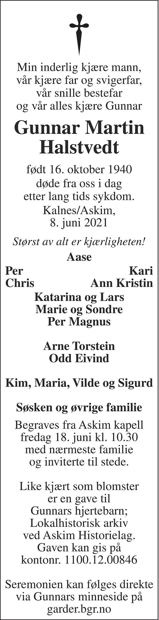 Gunnar Martin Halstvedt Dødsannonse