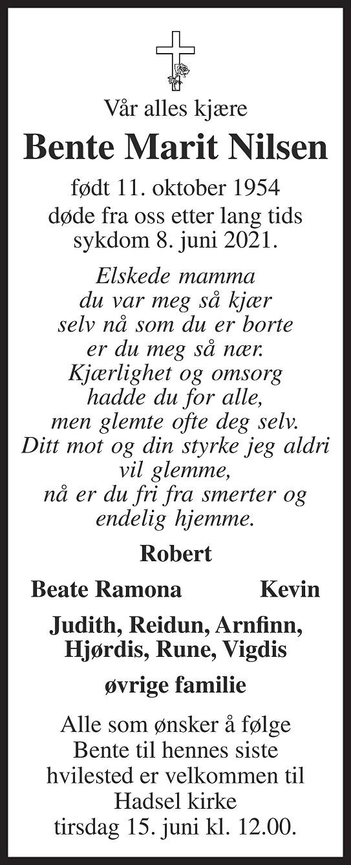 Bente Marit Nilsen Dødsannonse