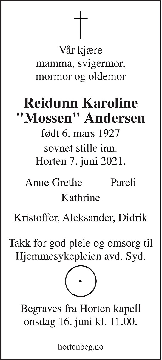 Reidunn Karoline Andersen Dødsannonse