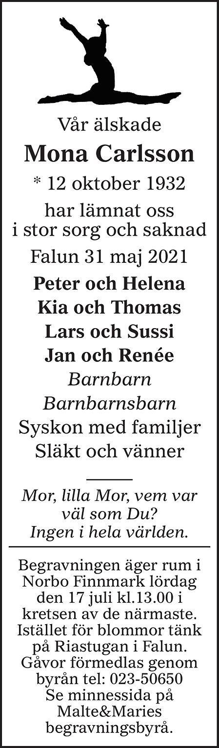 Mona Carlsson Death notice