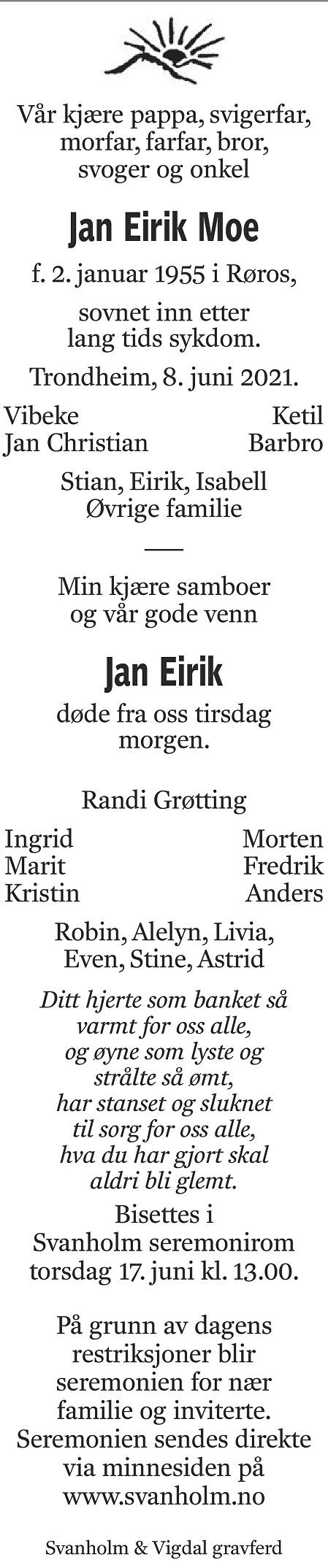 Jan Eirik Moe Dødsannonse