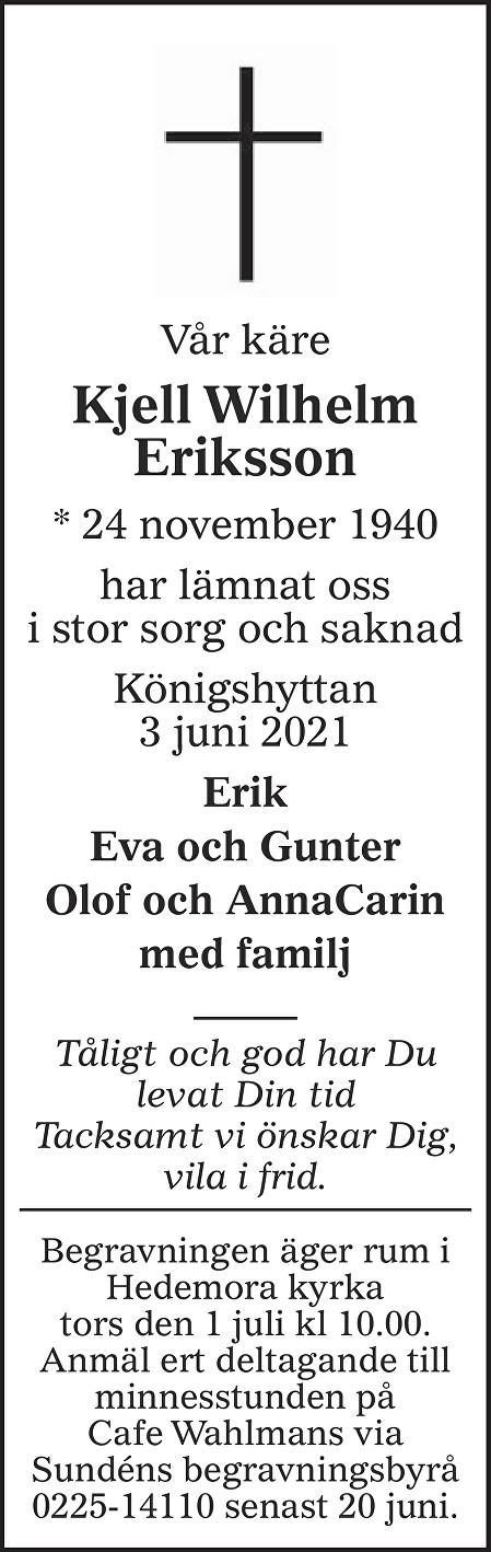 Kjell Wilhelm Eriksson Death notice