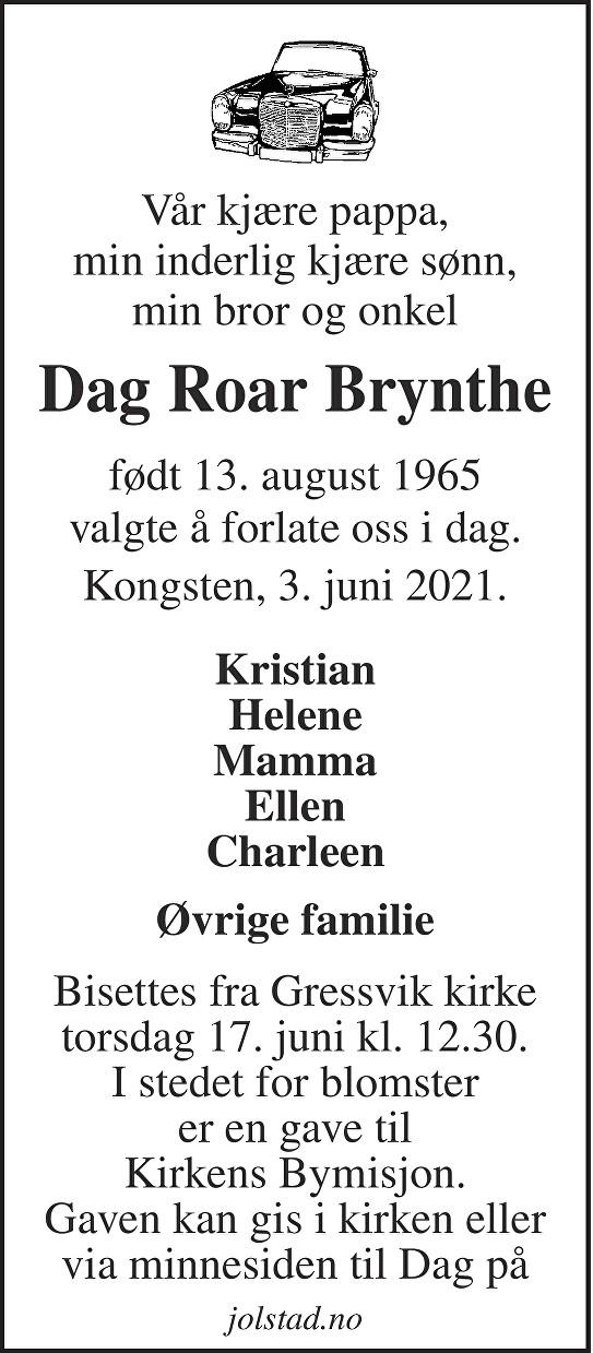 Dag Roar Brynthe Dødsannonse