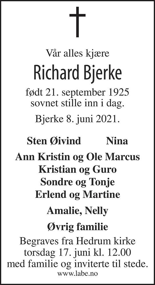 Richard Bjerke Dødsannonse