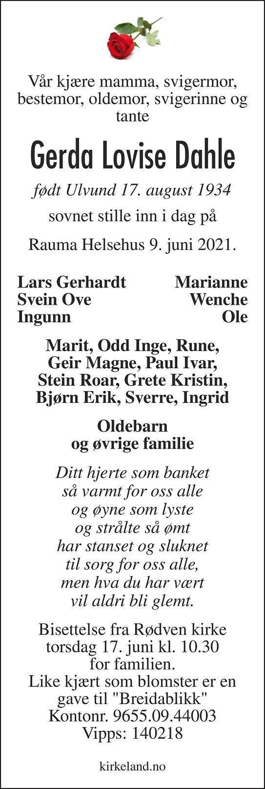 Gerda Lovise Ulvund Dahle Dødsannonse
