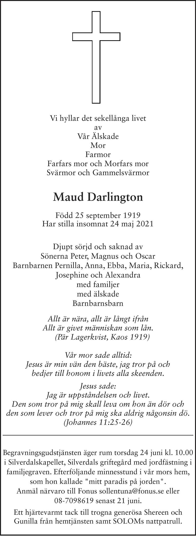 Maud Darlington Death notice
