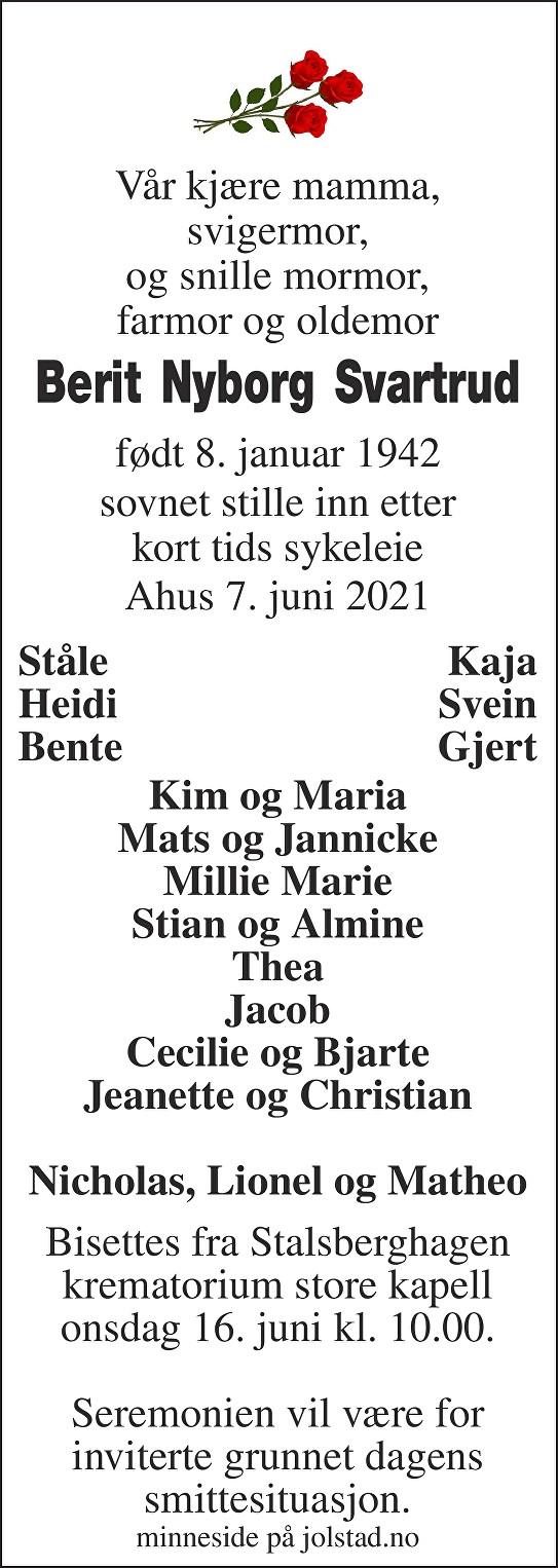 Berit Nyborg Svartrud Dødsannonse