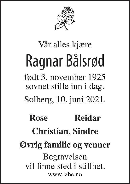 Ragnar Bålsrød Dødsannonse