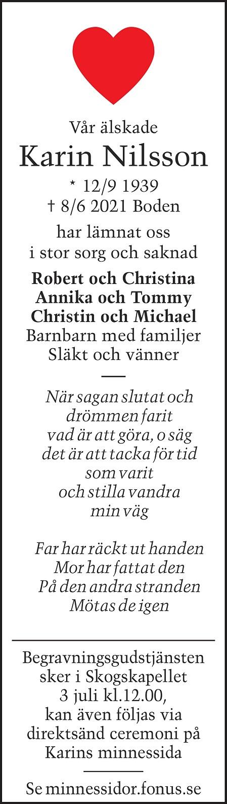 Karin Nilsson Death notice