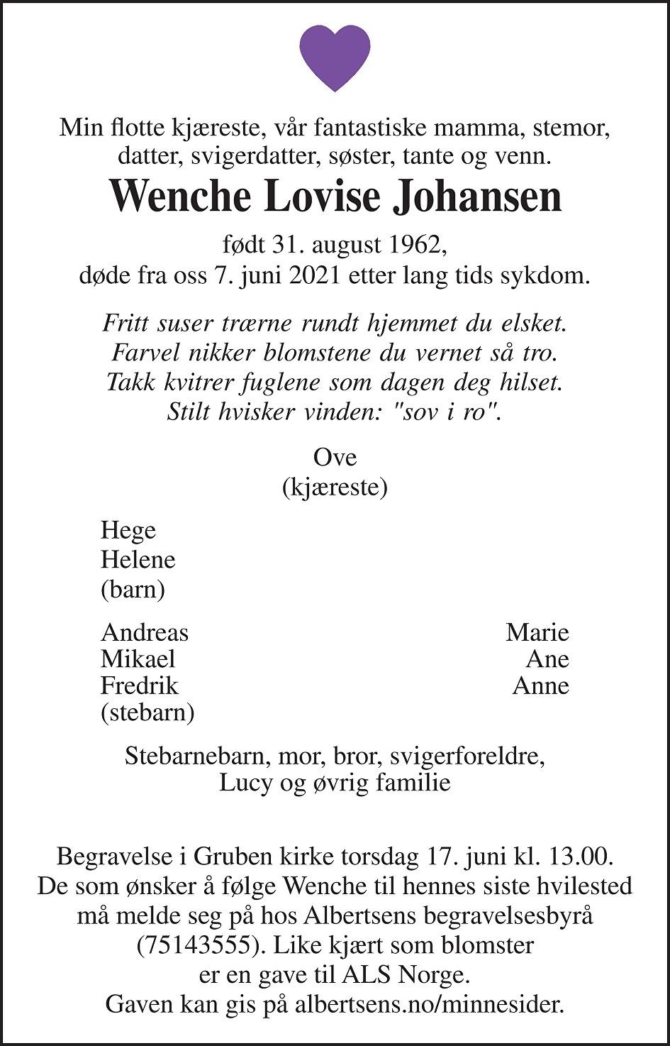 Wenche Lovise Johansen Dødsannonse