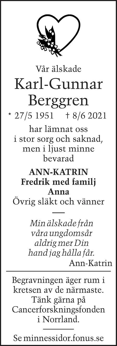Karl-Gunnar Berggren Death notice