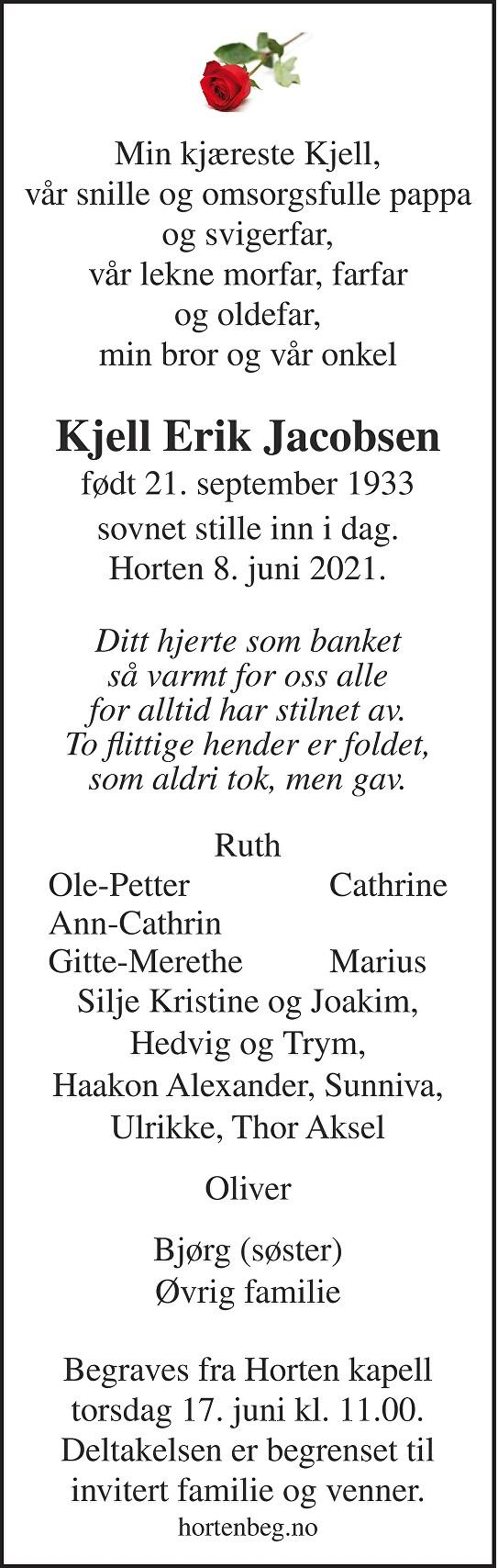 Kjell Erik Jacobsen Dødsannonse