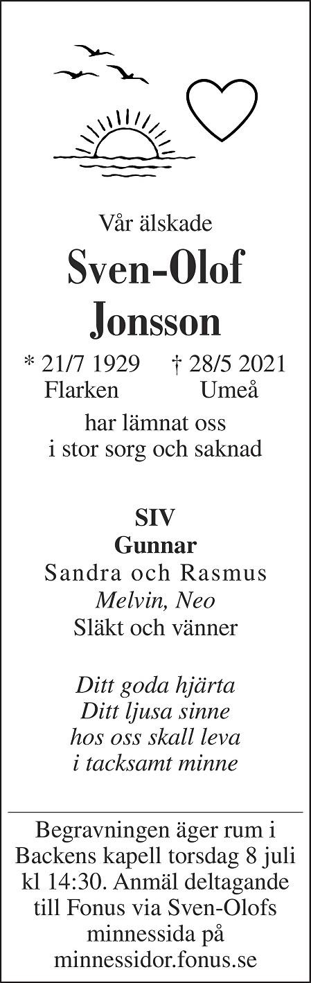 Sven-Olof Jonsson Death notice