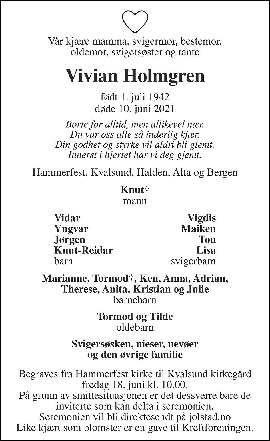 Vivian Holmgren Dødsannonse