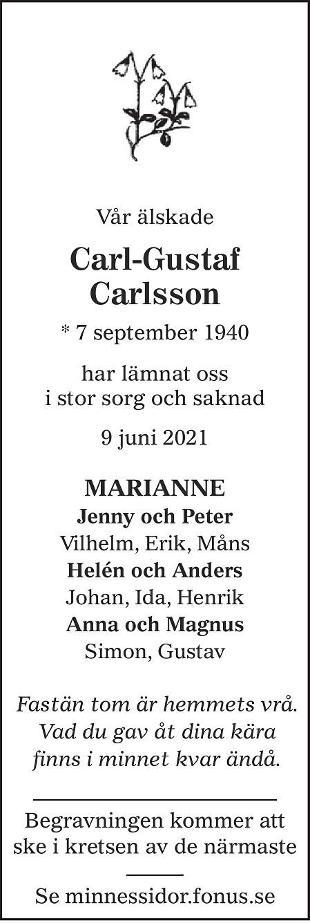 Carl-Gustaf Carlsson Death notice